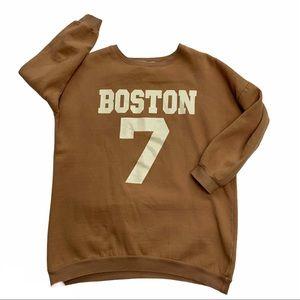 "TOPFEELING LADIES by MyStyle oversized camel coloured crewneck ""Boston 7"""